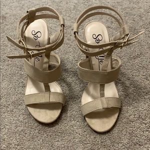 Nude Faux Suede Heeled Sandals size 6.5 Never Worn